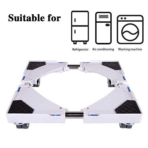 SMONTER - Soporte móvil universal ajustable para secadora, lavadora y refrigerador, 4 ruedas, blanco