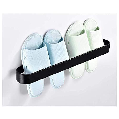 Zapatillas de baño Rack Montado en la pared Punzonado Froma de aleación de aleación de aleación Rackfor Puerta Almacenamiento Rack Dormitorio Dormitorio Estante Estante de Pared Balck 2size (Tamaño: 3