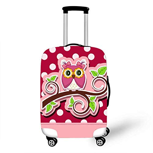 Trolley Case Protective Cover, DOTBUY 3D Print Premium Travel Suitcase Protector Elastic Anti-Scratch Dustproof Luggage Sleeve Cover Elasticized Washable (Branch owl,M (22-24 inches))