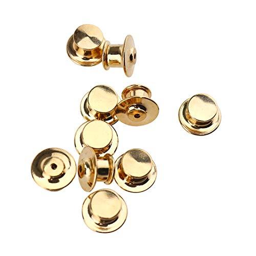 10x Golden Pin Keeper Sicherung Pin Lock Feder Klick Kutte Weste Trucker Nadel