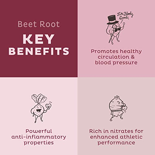KOS Organic Beet Root Powder - Natural Nitric Oxide Boosting Beet Root Powder - USDA Organic, Stamina Increasing, Circulation Superfood Plant Based Ingredient, 360g, 90 Servings