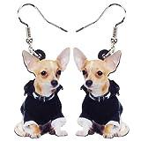 HBHBS Mode Acrylique Veste Chihuahua Boucles d'oreilles Pendantes Cartoon Cute Animal Jewelry pour Les Femmes
