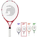 Gamma Sports Junior Tennis Racquet: Quick Kids 21 Inch Tennis Racket - Prestrung Youth Tennis Racquets for Boys and Girls - 93 Inch Head Size - Red