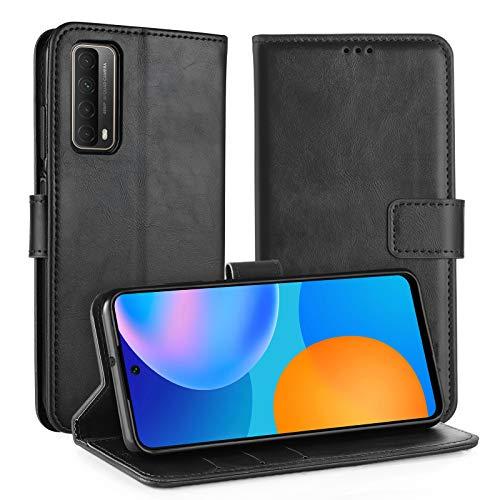 Simpeak Hülle Kompatibel mit Huawei P Smart 2021, Handyhülle Kompatibel für Huawei P Smart 2021 Leder Flipcase [Kartensteckplätze] [Stand Feature] [Magnetic Closure Snap] - Schwarz