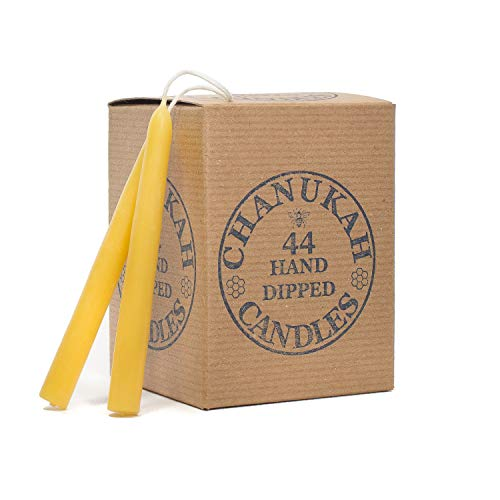 Bluecorn Beeswax 100% Pure Beeswax Chanukah Candles (44 Hand Dipped Candles Per Bag) (Raw)
