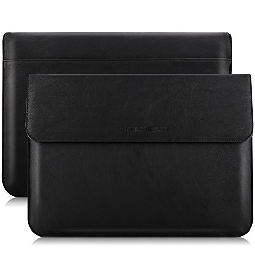 MoKo 13 Inch Laptop Sleeve Case Compatible with MacBook Air 13-inch Retina A1932 (2016-2020), MacBook Pro 13.3' 2016-2019 A2159 A1989 A1706 A1708, PU Leather Envelope Case with Document Pocket, Black