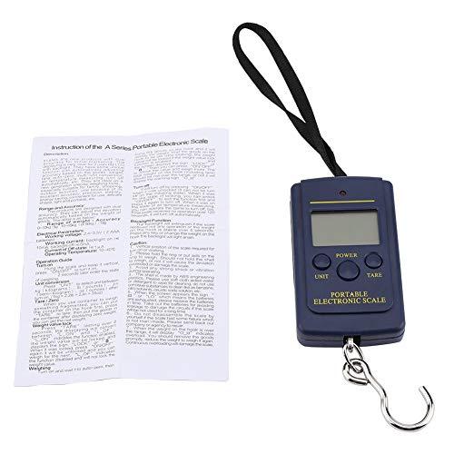 Cuque Balanza electrónica de Acero Inoxidable + ABS, balanza Colgante Digital, Pantalla LCD Grande Negra con Gancho Duradera para el hogar