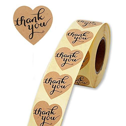500pz Adesivie Etichette Autoadesivo Thank You Grazie Handmade Fatti a Mano Sticker Tag kraft etichette adesive per Bomboniere Cottura per rotolo 1 Roll
