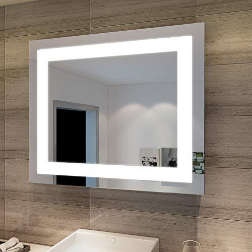 SONNI Badspiegel Lichtspiegel Kupfer bleifreie LED Spiegel Wandspiegel 60 x 50cm badezimmerspiegel kaltweiß IP44 energiesparend