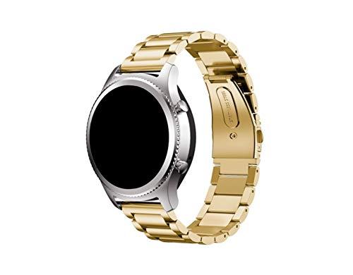 Correa de Reloj de Acero Inoxidable, Compatible con Huawei Watch GT/Reloj GT2E / Reloj GT2, Correa de Metal, Ancho de Correa: 20 / 22mm, Liqingshangmao (Color : Gold, Size : 20mm)