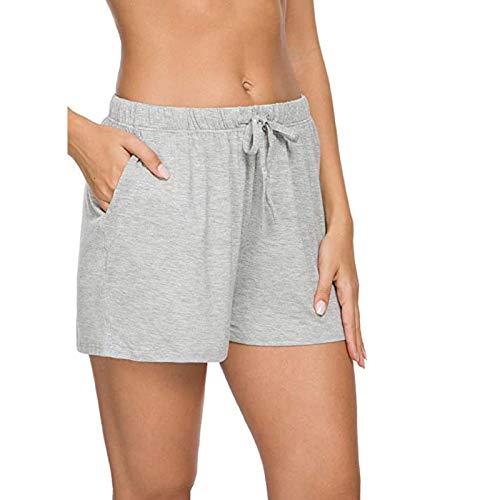 Sopzxclim Women's Athletic Shorts Drawstring Elastic Summer Casual Pajama Shorts Comfy Loungewear Pajamas Bottoms Gray