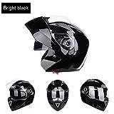 WWMH Klapphelm Integralhelm Modular-Helm Flip-Up Motorrad-Helm Mit Doppelvisier Motorradhelm Damen Und Herren,Brightblack,M