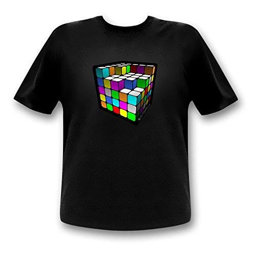 T-shirt motif Cube Equalizer LED / Party Retro L noir