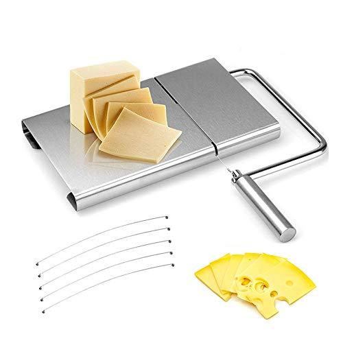 Gobesty Cortador de queso de acero inoxidable, alambre de acero inoxidable, cortador de mantequilla con tabla para servir, para queso duro y semiduro, mantequilla, salchichas