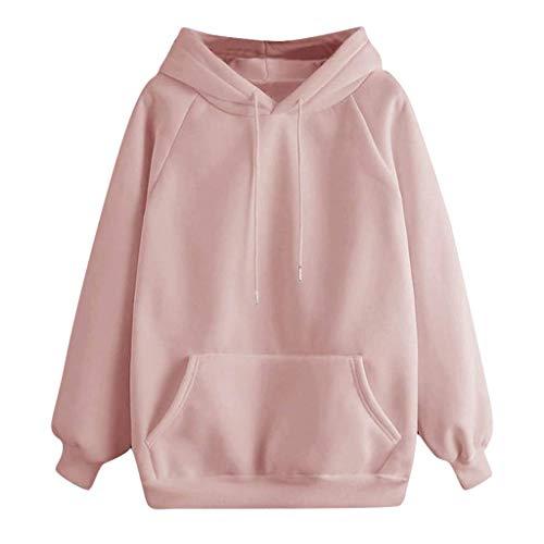 Sudaderas Mujer con Capucha y Bolsillos Camiseta Tops de Manga Larga Pullover Suelta Otoño Invierno (Rosa, XXX-Large)