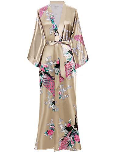 BABEYOND Damen Morgenmantel Maxi Lang Kimono Strandkleid Pfau Gedruckt Strickjacke Kimono Bademantel Damen Lange Robe Schlafmantel Girl Pajama Party (Champagner)