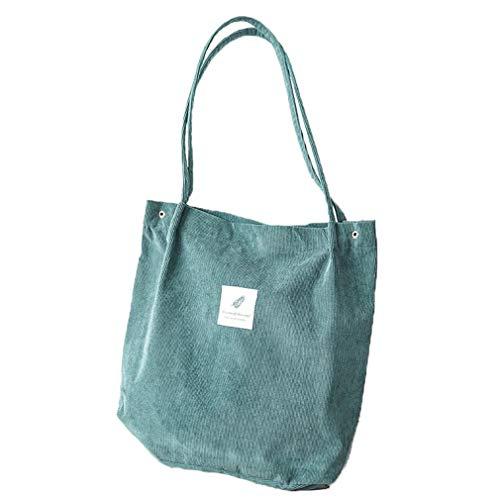 HermosaUKnight Bolso de Pana de Alta Capacidad para Mujer, Bolso de Hombro Informal para Mujer, Bolso de Pana (Verde)