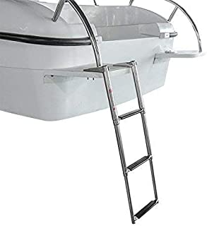 Hoffen 3 Step Ladder 316 Stainless Steel Telescoping Ladder Extendable Drop Ladder 900 Pound Capacity for Marine Yacht/Swimming Pool
