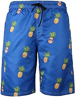BEESCLOVER Pineapple 6XL Plus Size Swimwear Men Swim Shorts Swimming Men Swimsuit Men Bathing Suit Sport Wear Beach Shorts Quick Dry 317 Blue 705 4XL