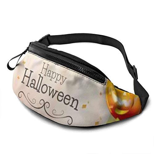 OPLKJ Halloween Hintergrund mit Luftballons und leerem Papier Unisex Running Waist Packs Lässige Taillentasche, kann kleine Objekte wie Handys halten