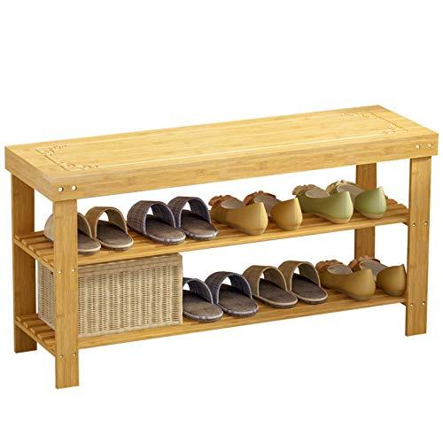 GAXQFEI Zapato Rack Doble Fila Alenamiento Multifuncional Diseño Zapato Hogar Zapato Bambú Estante Entrada Entrada Pasaje Banco Cambio Banco Banco Fácil de Ensamblar Racks de Alenamiento de Zapatos,*