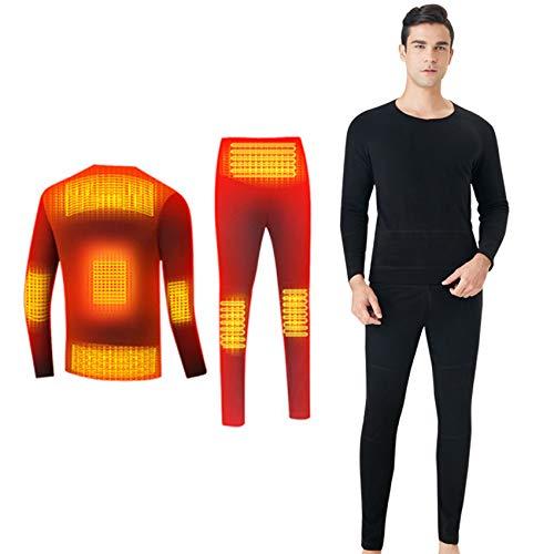 Yeah-hhi Calefacción térmica ropa interior traje chaqueta + pantalones traje de dos piezas USB eléctrico 8 zonas Calefacción ropa interior de invierno para actividades al aire libre, hombre, XL