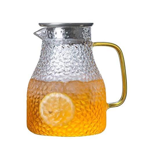ANXI Borosilicate Iced Tea Pitcher glazen Pitcher met deksel, waterkruik Pitcher voor warm/koud water, zelfgemaakte ijs, melk, koffie en sap drank karaf voor bloemthee