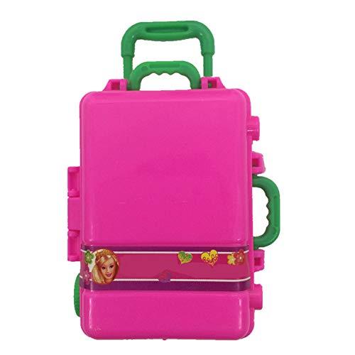 Apofly Viajes Dollhouse Accesorios 1pc Mini Caja De Plástico Rosada del Juguete 3D Maleta del Equipaje del Viaje del Caso Accesorios De La Muñeca para La Muñeca Decoración De La Casa (a)