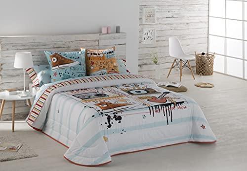 Ropa de Cama Juvenil 100% algodón Percal 200 Hilos Modelo Music de JVR, Ideal para Adolescentes (Colcha Boutí Cama 90cm)