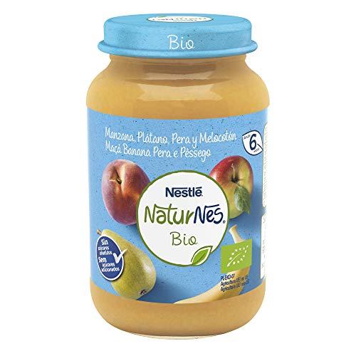 Nestlé Naturnes Bio Pure Plátano Manzana Pera Y Melocotón Para BebésDesde 4 Meses - Pack de 12 tarritos 190g