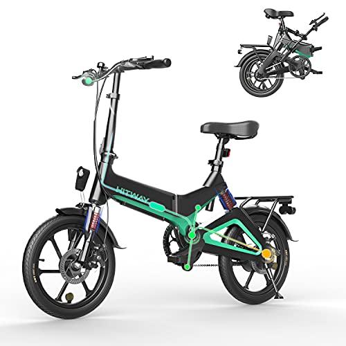 HITWAY vélo électrique léger 250W électrique Pliable d'assistance à la pédale avec Batterie 7,5Ah, 16 Pouces, pour Adolescent et Adultes (Noir)