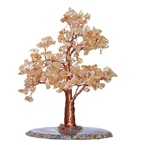 NYKK Ornamento de Escritorio Cristal Amarillo árbol ágata Base Bonsai árbol del Dinero for la abundancia y la Suerte artesanías decoración