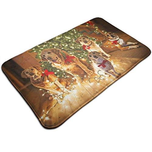 GOSMAO Felpudo de Entrada Alfombra Exterior para Puerta Impermeable Lavable Antideslizante Perros Graciosos y árbol de Navidad 40X60cm