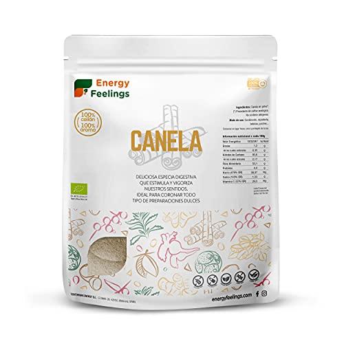 Energy Feelings Canela De Ceylan En Polvo Ecológica | Especia 00% Natural Orgánica | Canela De Ceilán Molida | Vegana | Sin Gluten | Sin Lactosa | Antioxidante