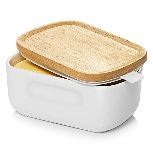 Dowan Large Butter Dish with Handle on Lid Up to 2 Sticks of Butter, Farmhouse Butter Dish with Lid, Ceramic Butter Container for East West Coast Butter, Microwave and Freezer Safe, White