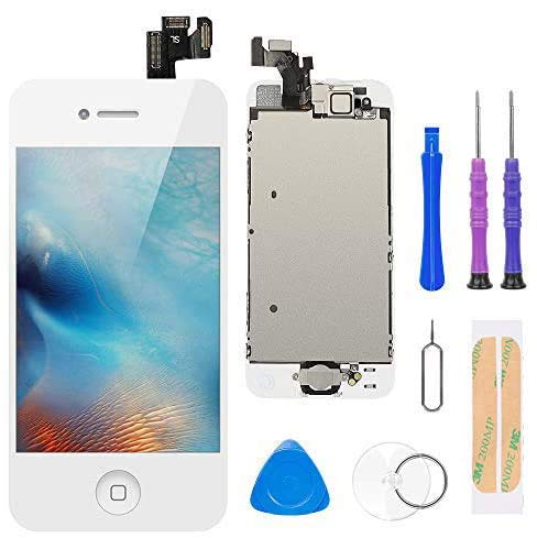 Display per iPhone 5 Schermo Touch Screen 4,0'LCD Vetro Bianco Digitizer Parti di Ricambio (con Home Pulsante, Fotocamera, Sensore Flex) Kit Smontaggio trasformazione Completo di Ricambio