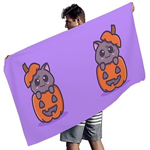 Lindo gato zombi con calabaza Halloween dibujos animados toallas de playa para la fiesta de música de toallas de baño divertidas para niños y adultos blanco 150x75 cm