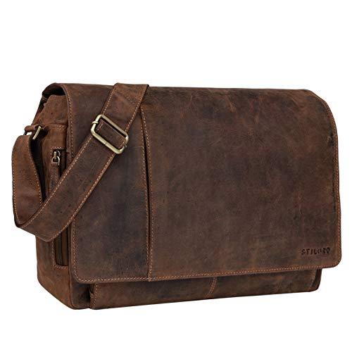 STILORD 'Elias' Ledertasche Herren Umhängetasche Unitasche Laptoptasche 15.6 Zoll Aktentasche Bürotasche Büffel Leder, Farbe:Calais - braun