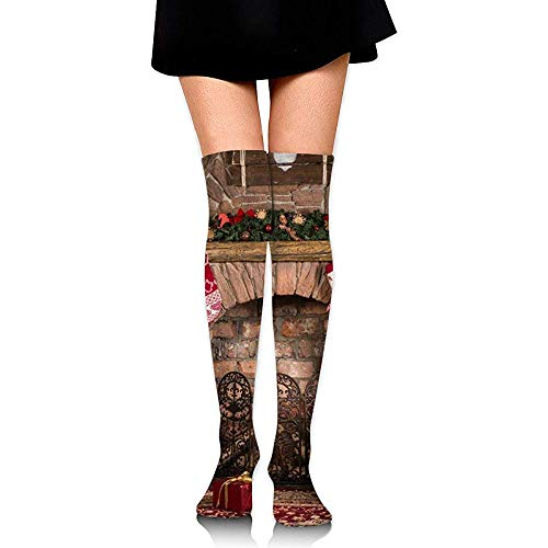 knie hoge buis sokken voor meisjes, vrouwen schattige kerst open haard achtergrond prints over dij hoge lange kousen