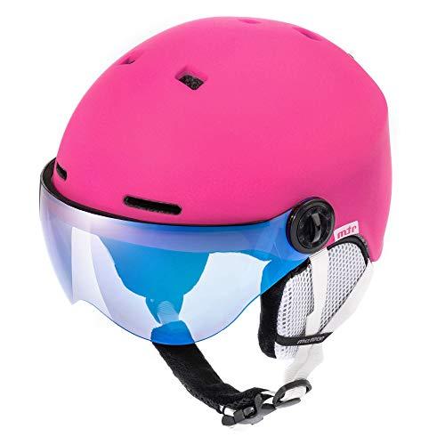 meteor Casco de Esquí y Snowboard con Gafas para Niños Niñas - Helmet para Jóvenes y Adultos - Casco de Seguridad Deportes de Invierno (S (53-55cm), Rosa)
