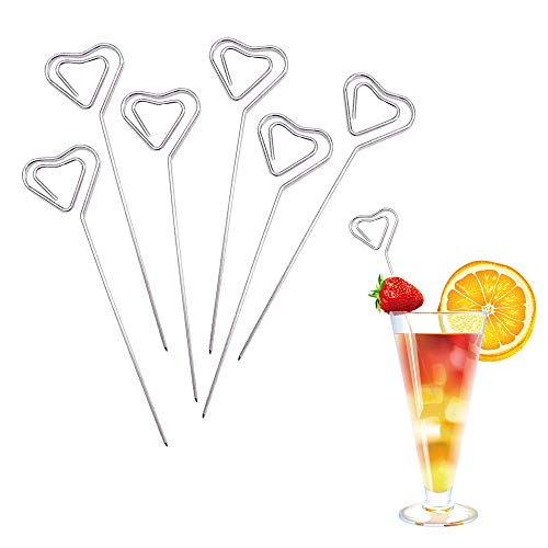 Cocktail Picks Stainless Steel Garnish Toothpicks Reusable Martini Picks Appetizers Bloody Mary Fruit Sandwich Heart StarSet of 6 style1