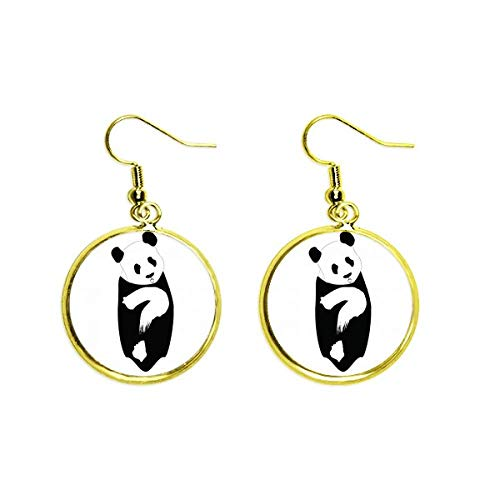 Question Panda Body Animal Oreja Colgante Dorado Pendientes Mujer