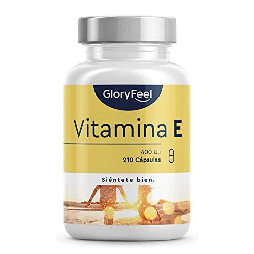 Vitamina E Natural 400 UI - 210 Cápsulas (Suministro para 7 meses) - Extraído naturalmente del Girasol (D-Alfa-Tocoferol) - Potente antioxidante, Antiedad y Protege las celulas del estres oxidativo