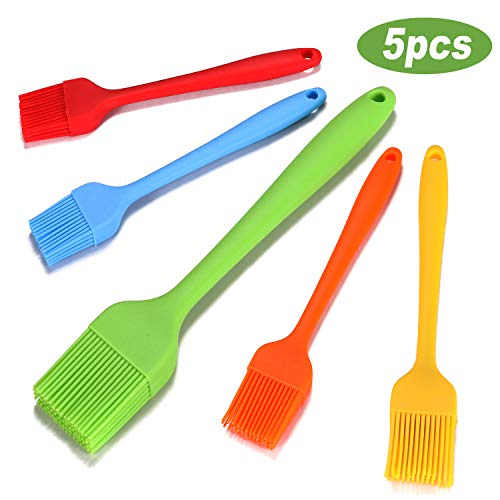 Anhai Pastry Brush - Silicone Basting Brush with 5 Pcs Pastry Brushes for Barbecue, Baking and Cooking Spread Oil Butter Sauce Marinades
