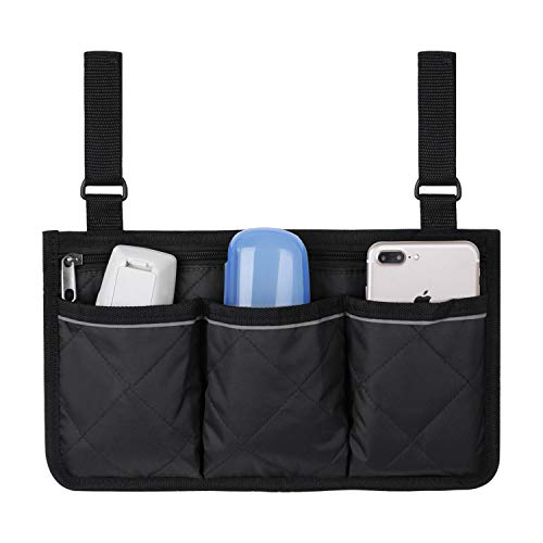Wheelchair Side Bag,Wheel Chair Storage Tote,Armrest Bag,Stroller Organizer with Bag Wheelchair Accessories Bags Pouch Wheelchair Bag for Rollator,Wheelchair,Mobility Scooters,Folding Walkers-Black