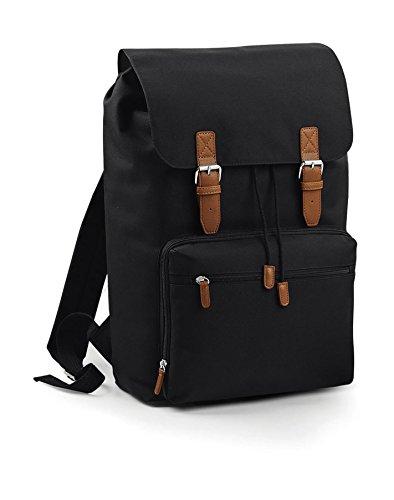 """Vintage Rucksack für Damen und Herren mit Laptop-Fach (17 \""""), Notebook-Tasche in Schwarz, Backpack Wasserdicht, Ideal für Reise, Hand-Gepäck, Wandern, Camping, Retro Travel-Bag, Outdoor"""