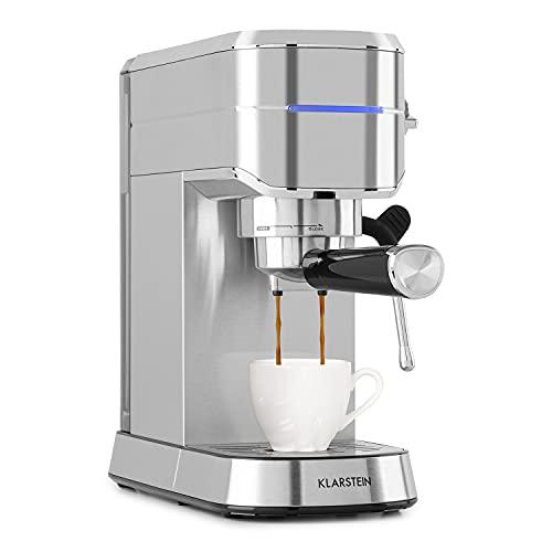 Klarstein Futura cafetera, con tamizador de café,1450 W, 20 bares, calidad barista, sistema Thermo-Block, doble salida, espumadera de leche, plateado