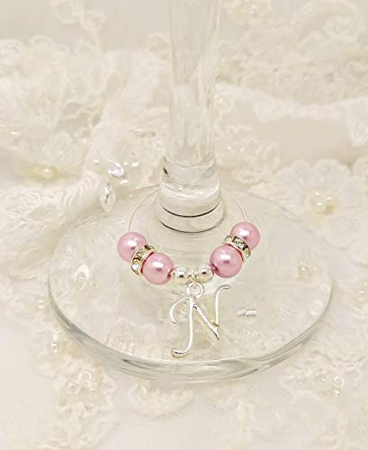 Personalised Blush Pink Initial Letter Wine Gin Prosecco Glass Charms Wedding Hen Party Christmas