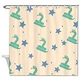 BYRON HOYLE Grüner Schlangen-Duschvorhang Cartoon Stern Tier Duschvorhang mit Ringen Polyester-Stoff Duschvorhänge mit Haken Bad Badezimmer Dekor 152 x 183 cm