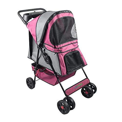 Jespet 4-Wheel Promenade Pet Stroller for Dogs Cats, Safe Brake Wheels Foldable Jogging Stroller with Cup Holder, Storage Basket, Pad, Seat Belt